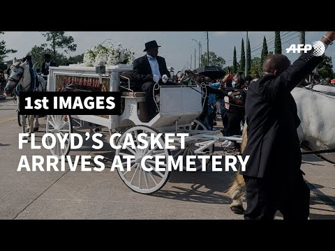 George Floyd's Casket Arrives At Texas Cemetery In A Horse-drawn Carriage | AFP