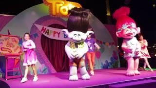 Kiara enjoying The Trolls Surprise Party Show