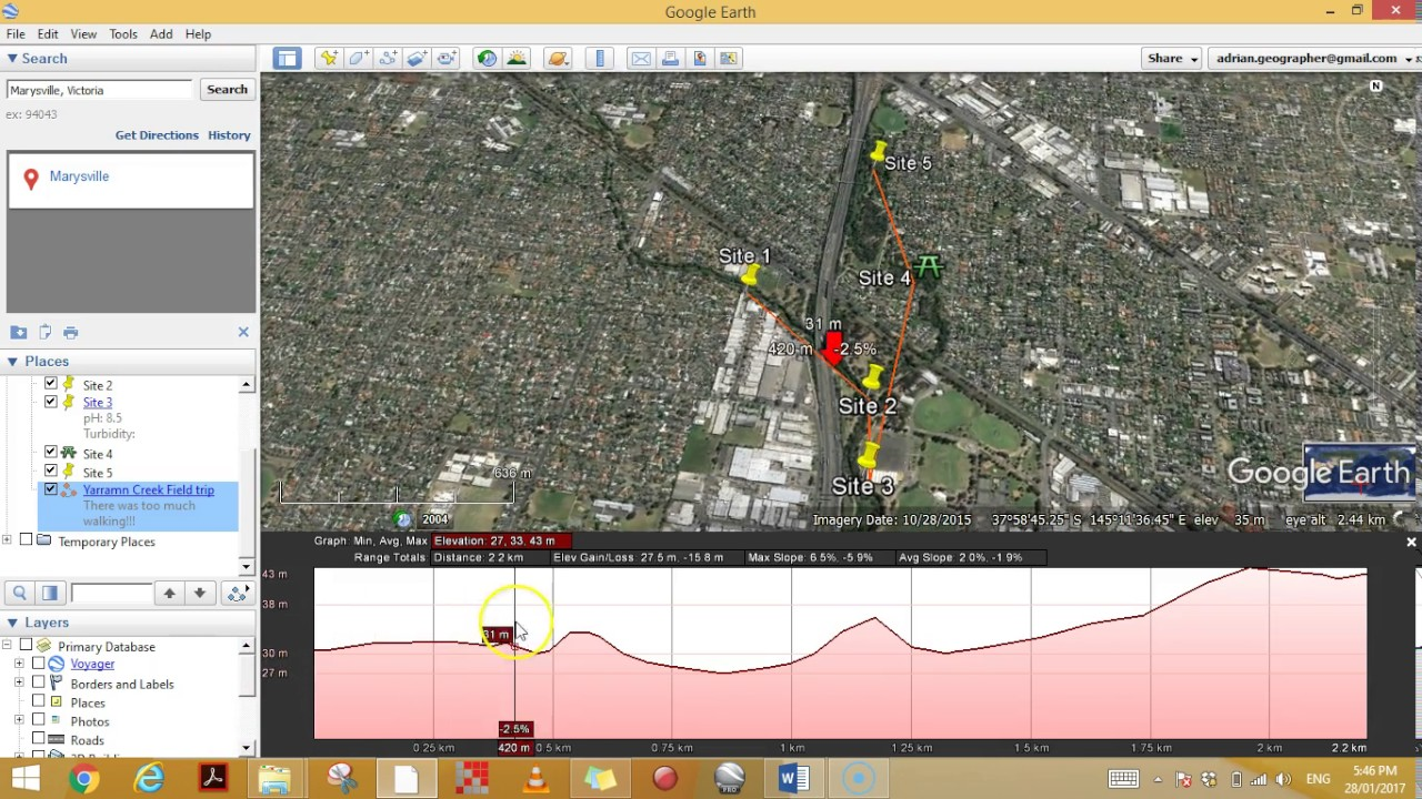 Paths and elevation profiles in Google Earth   YouTube