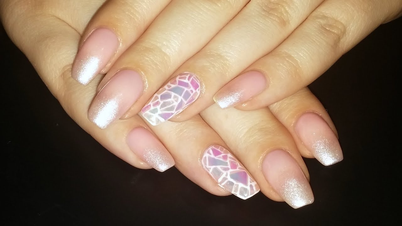 nail art nude shattered glass