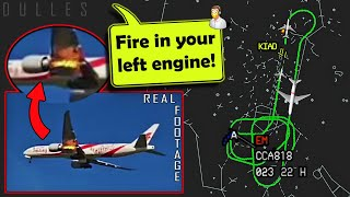 Air China has LEFT ENGINE FIRE ON TAKEOFF from Dulles!