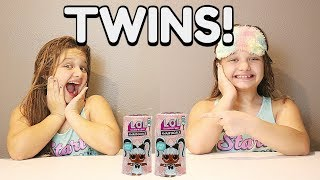 IDENTICAL TWINS OPEN LOL SURPRISE HAIRGOALS LOL DOLLS TOGETHER! (FUNNY SKIT FOR KIDS)