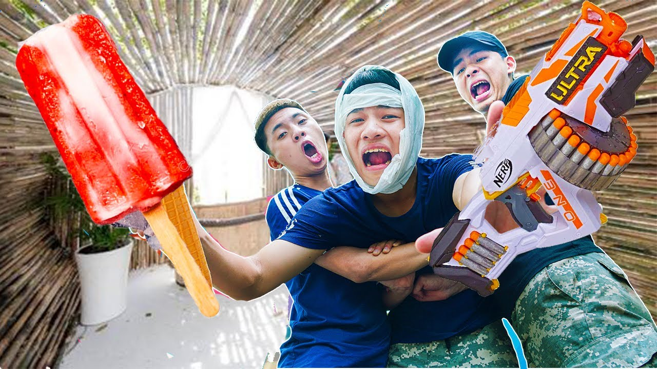 Battle Nerf War: Squad Soldiers & Blue Police Use Nerf Guns Fight Robbers Group ICE CREAM WAR