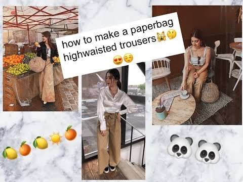 How to make paperbag high waisted pants/wide leg trousers(sewing tutorial)😍 🙊💕