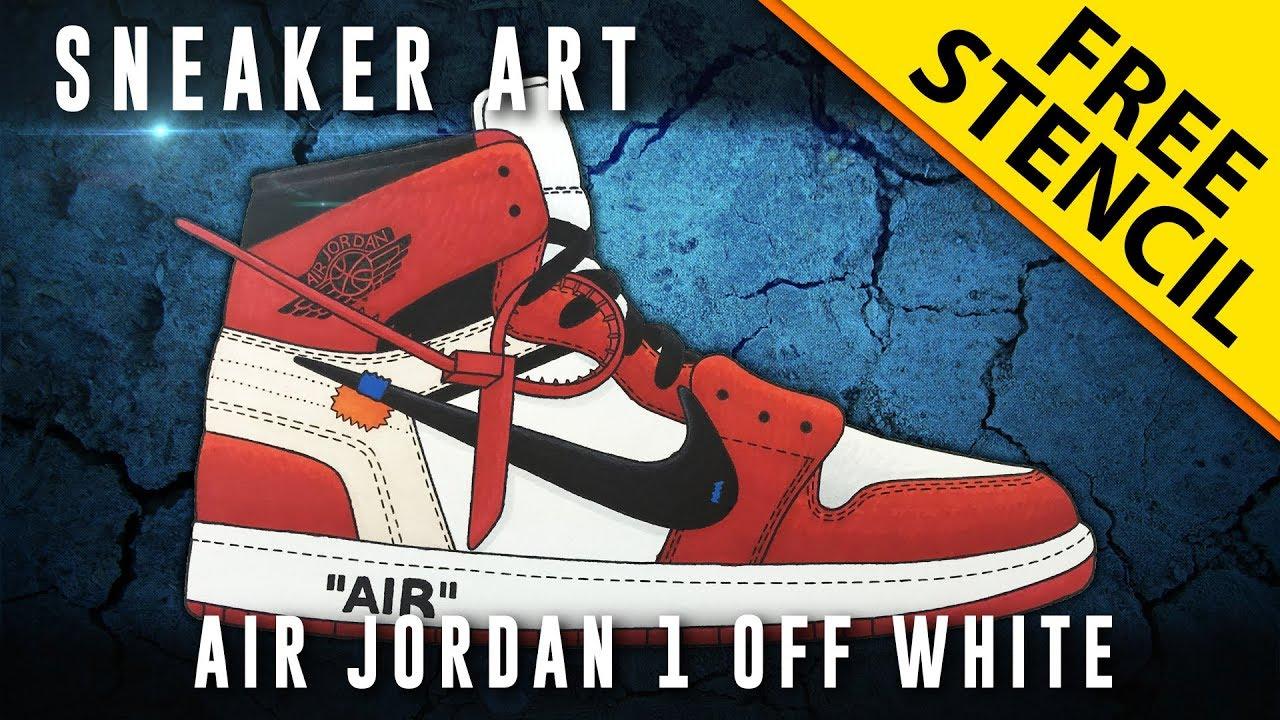 d8852311336 Sneaker Art: Air Jordan 1 Off White w/ Downloadable Stencil - YouTube