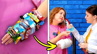 FUNNY WAYS TO SNEAK FOOD INTO MOVIE AND CLASS || Weird But Effective Food Sneaking Ideas