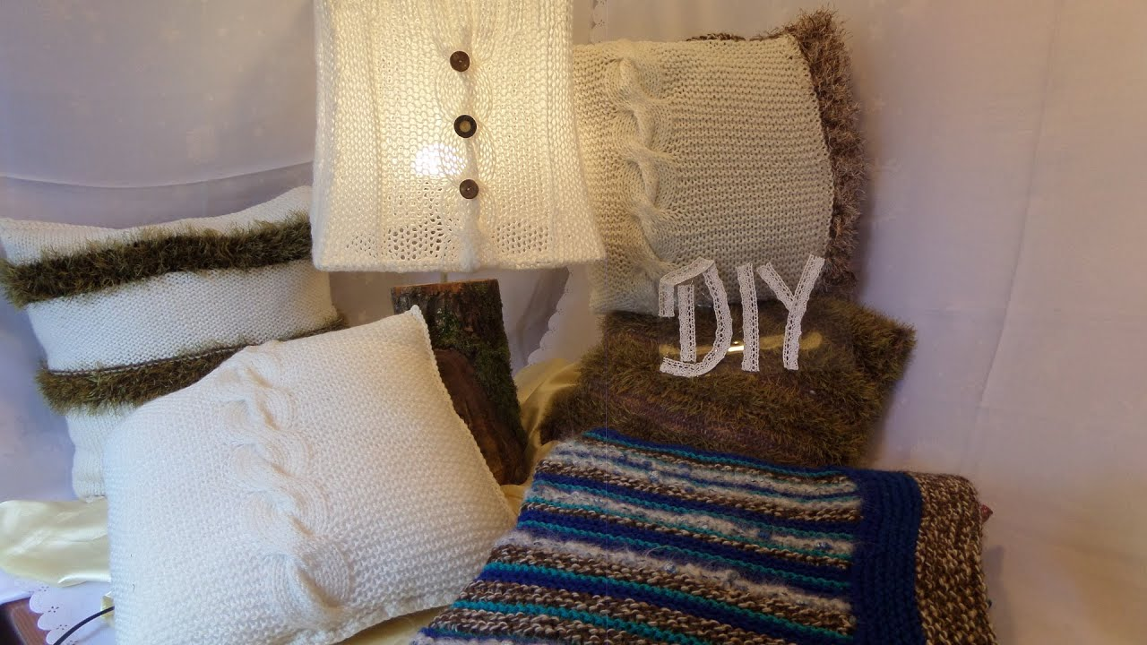 diy home kissen mit zopf zum stricken passend zur lampe. Black Bedroom Furniture Sets. Home Design Ideas