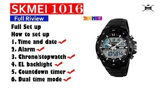 How to setting SKMEI 1016 full set up alarm, stopwatch, timer and others