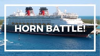 RARE DISNEY CRUISE HORN BATTLE ON DISNEY WONDER CRUISE SHIP IN CASTAWAY CAY!