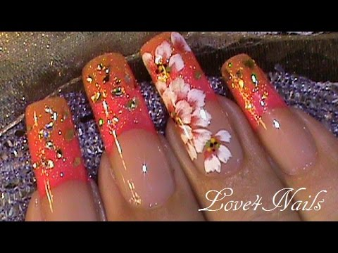 Uñas Decoradas Effecto Ombre Con Flor A Mano Alzada Tutorial Youtube
