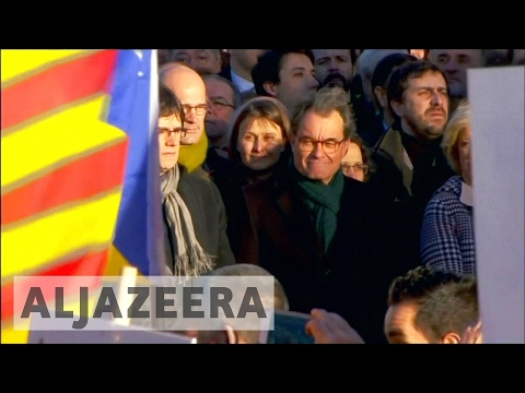 Protests in Barcelona as ex-Catalonia chief stands trial