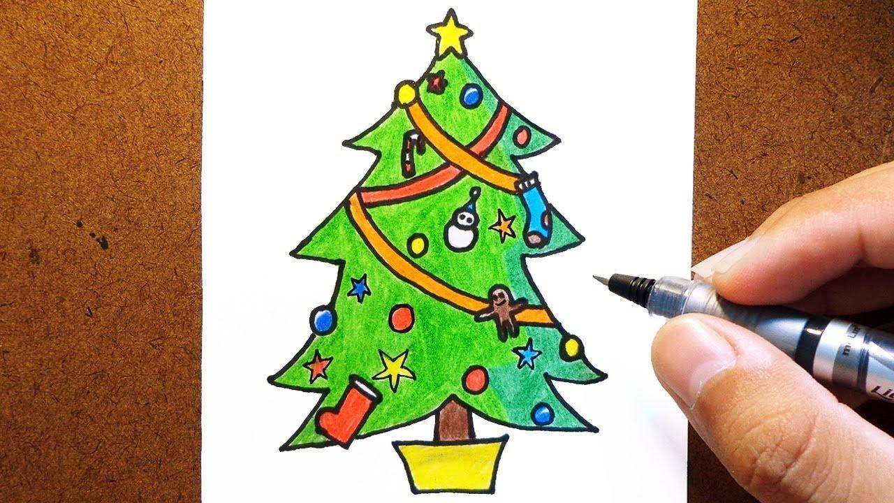 Como Desenhar E Pintar Arvore De Natal Youtube