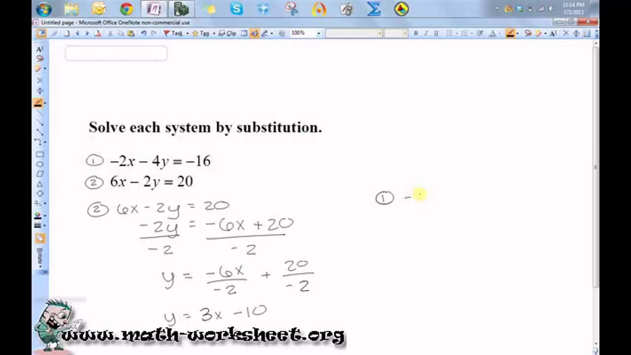 Workbooks substitution method worksheets : Algebra - Systems of Equations and Inequalities - Solving by ...