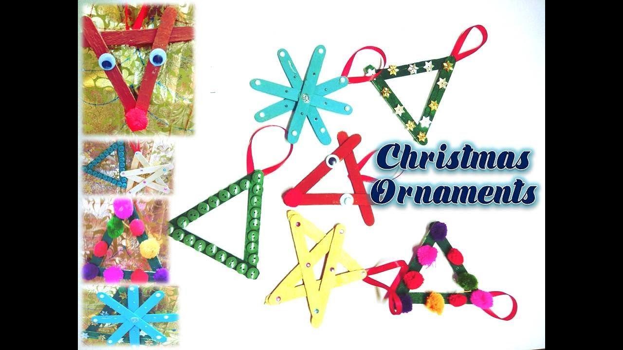 Popsicle Stick Christmas Tree Ornaments.Diy Popsicle Stick Christmas Ornaments Kids Crafts Snowflake Christmas Tree Reindeer Star