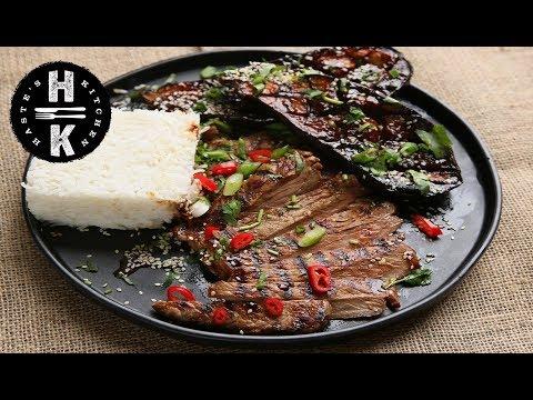 Miso & honey aubergine with sesame miso steak