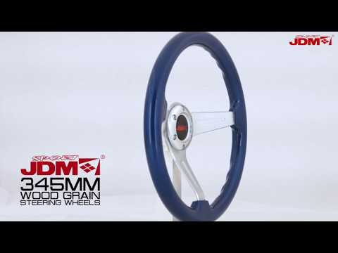 JDM SPORT 345MM BLUE WOOD GRAIN STEERING WHEEL