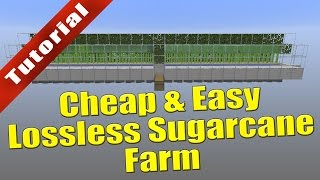 Minecraft Tutorial: Cheap and Easy Lossless Sugarcane Farm