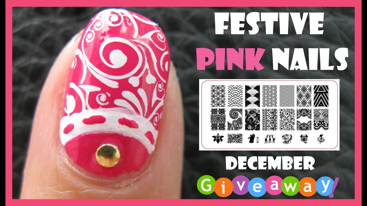 Festive pink nails and december giveaways meliney stamping nail festive pink nails and december giveaways meliney stamping nail art design tutorial prinsesfo Gallery