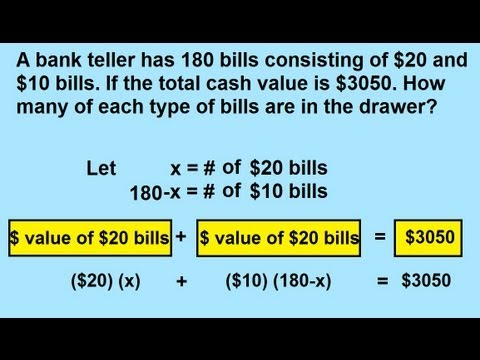 Algebra - Word Problems: With Money - YouTube