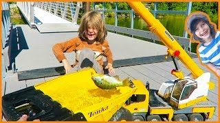 Toy Crane Trucks Go Fishing