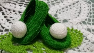 🍃Zapatitos para niñas👼#3en crochet de campanita