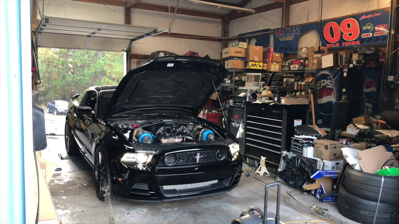 2014 Twin Turbo Mustang GT Coyote Dyno Pulls On3 Performance 67mm Twin  Turbo Kit e85 10lbs boost