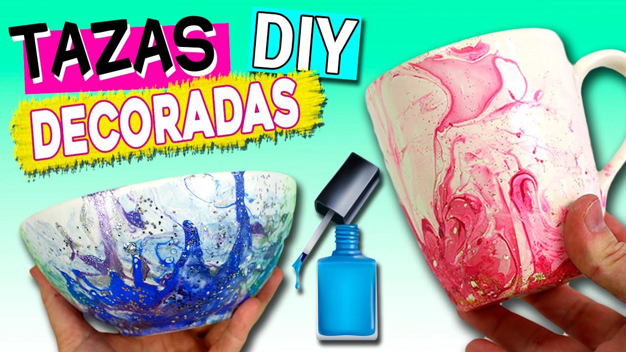 TAZAS decoradas con ESMALTE de uñas * Ideas para REGALAR - YouTube