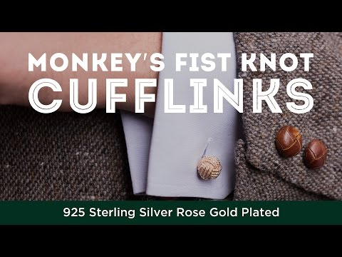 Monkey's Fist Knot Cufflinks - 925 Sterling Silver Rose Gold Plated - Fort Belvedere