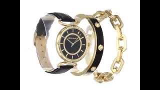 Anne Klein Women's AK/1938GBST Gold-Tone Swarovski Crystal-Accented Black Leather Strap Watch