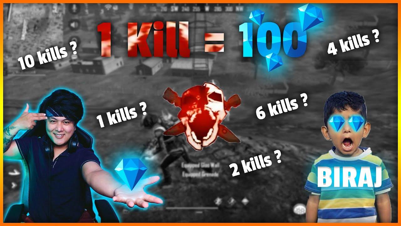 EVERY KILL @SRV BIRAJ GETS 100 DIAMOND OFFER BY MR JUNIOR | GARENA FREEFIRE
