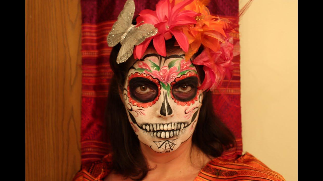 Sugar Skull face paint tutorial - YouTube