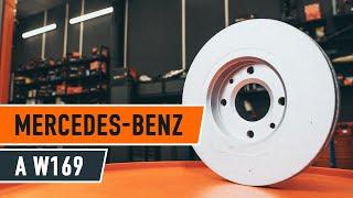 Kaip pakeisti priekiniai stabdžių diskai ir stabdžių kaladėlės MERCEDES-BENZ A W169 PAMOKA AUTODOC