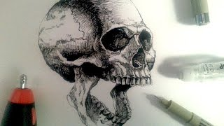 Sakura Pigma Drawing Pens Demo | Drawing a realistic skull