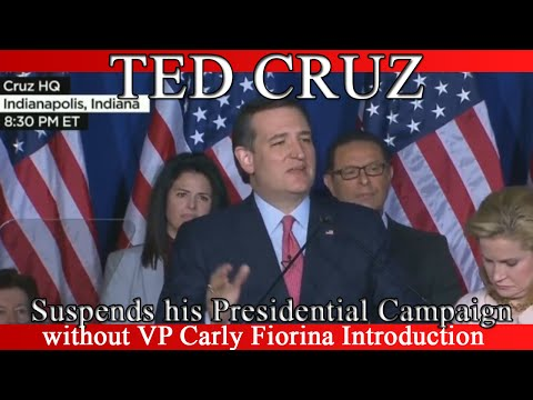 Ted Cruz Suspends his Presidential Campaign - Without Fiorina Intro - Speech - May 3, 2016