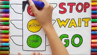 Traffic Light Drawing for kids| Coloring Pages Red Yellow Green