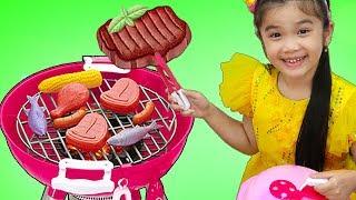 Hana Pretend Play w/ BBQ Restaurant Store Kids Food Toys