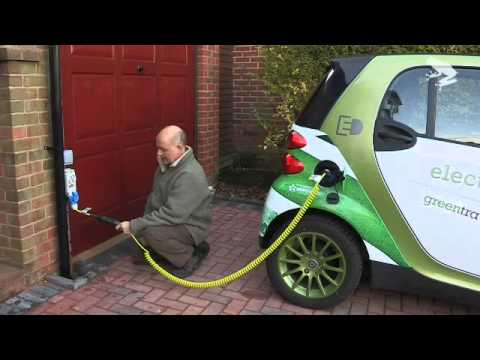 Electric Smart Car plug in demo  YouTube
