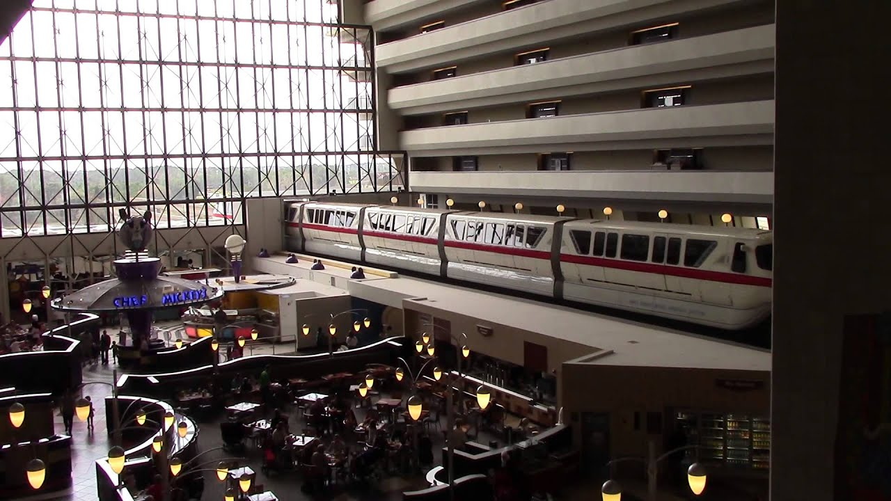 Monorail Red Entering Yellow Exiting Contemporary Hotel Walt Disney World