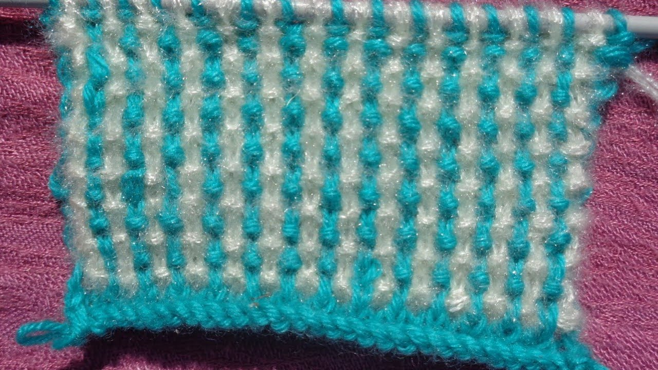 double colour knitting pattern 50# - YouTube