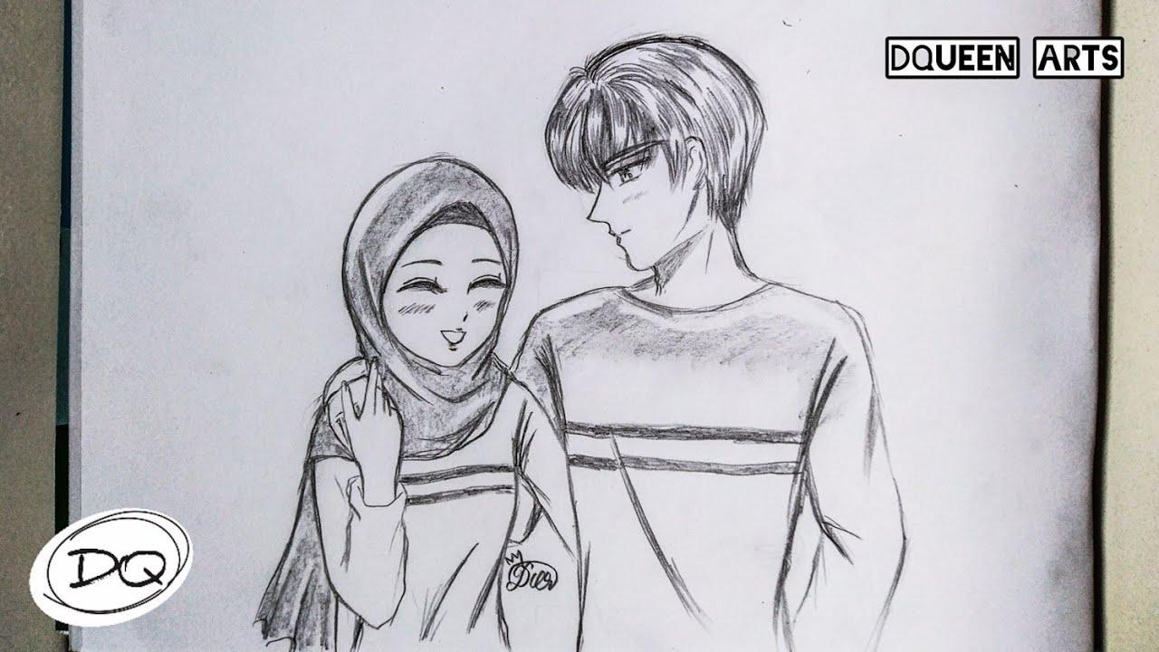 Tutorial Menggambar Anime Muslim Couple How To Draw Anime Muslim Couple Youtube