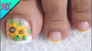 DISEÑO DE UÑAS PARA PIES FLORES PRINCIPIANTES - FLOWERS NAIL ART - NLC