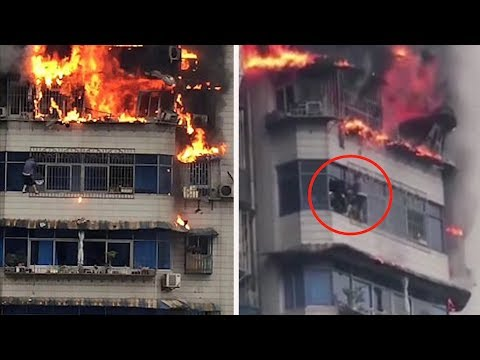 Man Scales Burning Building 25 Stories Up- CCTV CAUGHT ON CAMERA in China | What's Trending Now!