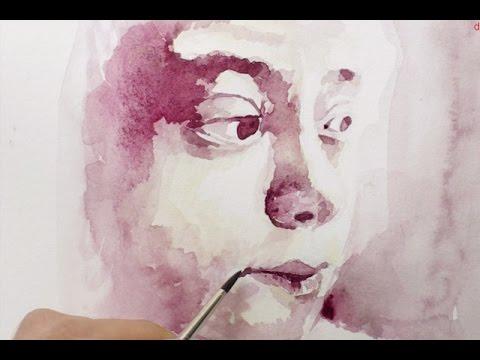 Cours d 39 aquarelle peindre un portrait youtube for Peinture mural original