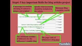 Tumblr Blogs: Write affiliate marketing blog