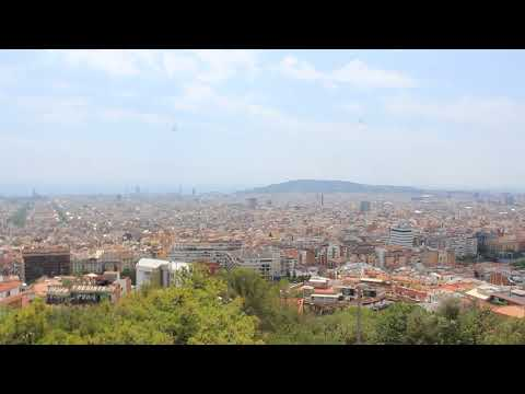 Guell, Park, Barcelona, Spain, modern, art, sun, beams, wonderful, panorama, overview, 360,MVI 8347