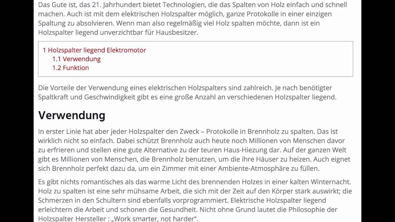 Holzspalter Liegend Elektromotor Www Holzspalter Liegend Net Youtube
