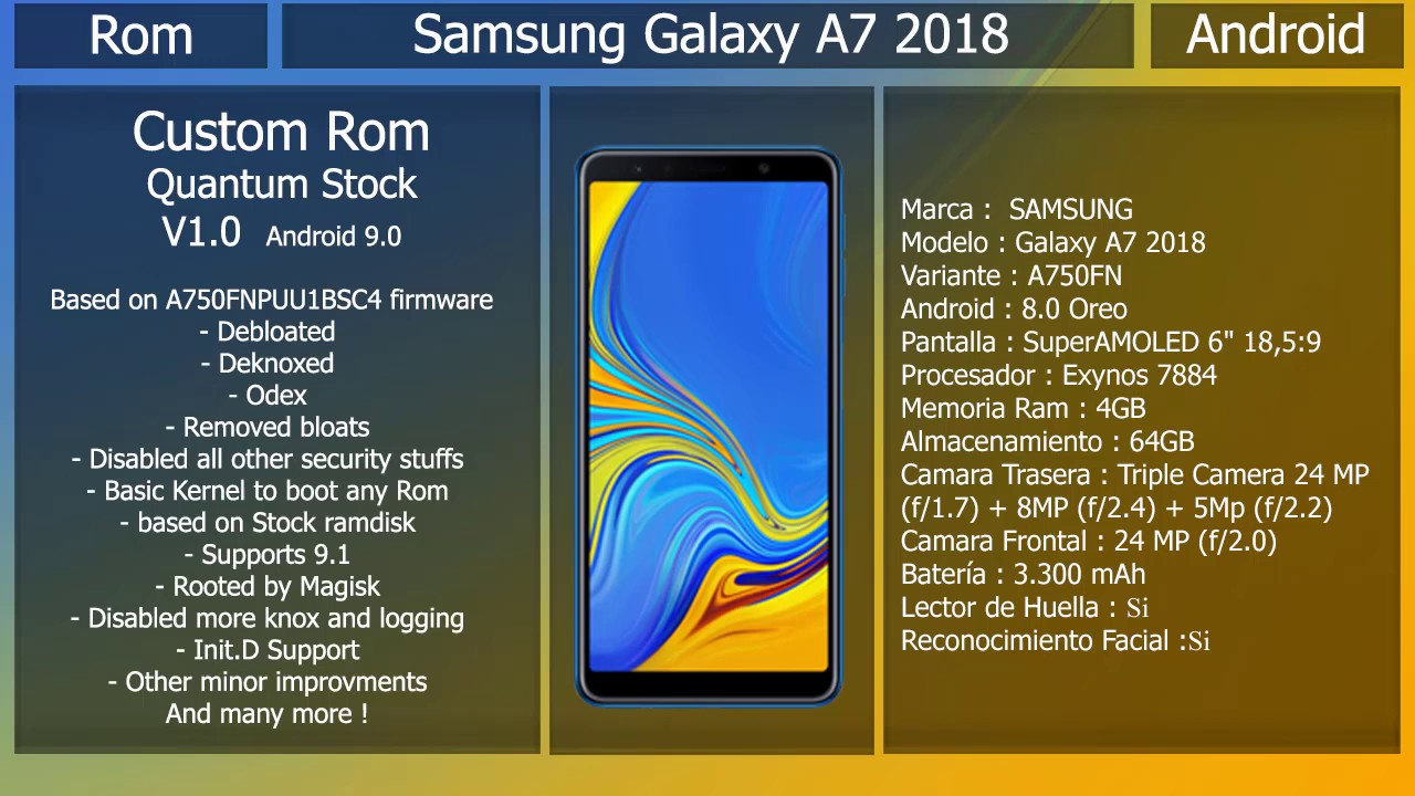 Rom Quantum Stock - Android 9 0 - Samsung Galaxy A7 2018