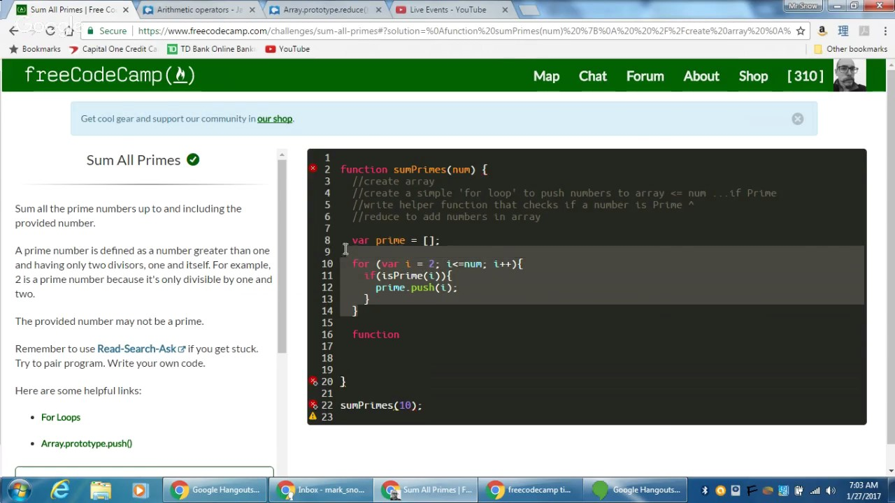 freeCodeCamp Sum All Primes freeCodeCamp