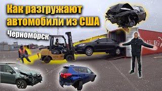 Как разгружают автомобили из США на терминале? Одесса, Черноморск, битки.