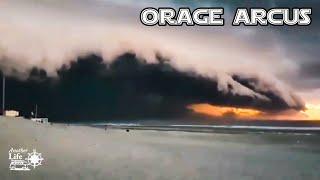 Forte tempête , orage arcus rare et énorme  sur Lacanau Océan en camping car, van aménagé